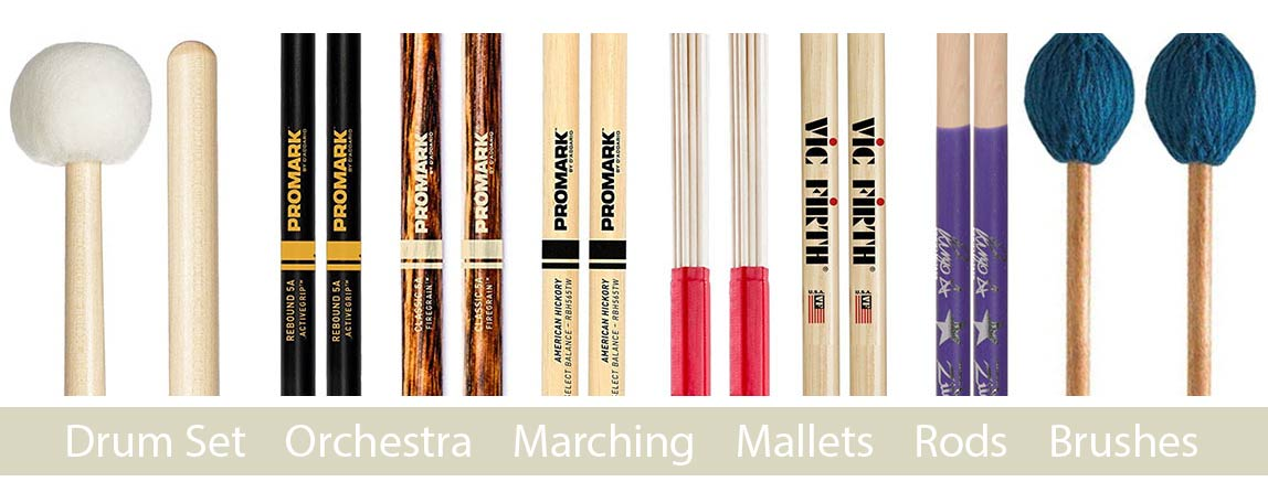 Percussion drum sticks and mallets