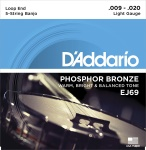 D'Addario J69 5-String Banjo Strings, Phosphor Bronze, Light, 9-20