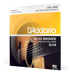 D'Addario EJ14 80/20 Bronze Acoustic Guitar Strings, Light Top/Medium Bottom/Bluegrass, 12-5